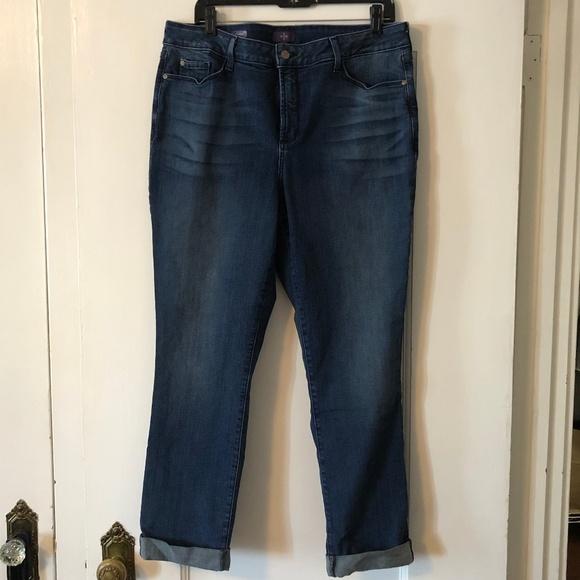NYDJ Denim - NYDJ Leann Cropped Cuffed Dark Jean Size 16